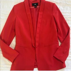 Red Open Front H&M Blazer